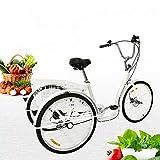 Fetcoi Dreirad Für Erwachsene 26 Zoll,3 Rad Fahrrad Dreirad mit Einkaufskorb 6 Geschwindigkeit Dreirad Trike Bike Radfahren für Erwachsene und Senioren(Weiß)
