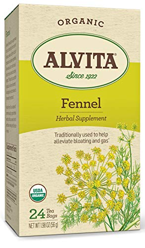 Alvita Organic Fennel Herbal Tea - Made with Premium Quality Organic Fennel Seeds, with Sweet Aroma and Flavor like Licorice or Anise, 24 Tea Bags