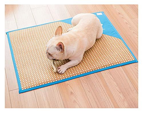 YAOTT Transpirable y cómodo Alfombrilla de enfriamiento para Mascotas,ratán de refrigeración, Antideslizante,para Perros y Gatos Almohadilla para Dormir Azul L(50 * 64.5cm)