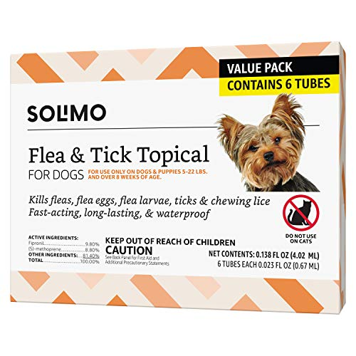 Amazon Brand - Solimo for Dogs Small Dog (4-22 pounds) Flea and Tick Treatment, 6 Doses