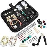 Timesetl 26-teiliges Reparatur- und Setup-Werkzeug-Set für Gitarre, Ukulele, Bass, Mandoline, Banjo, Reinigungszubehör-Set mit praktischer Tasche