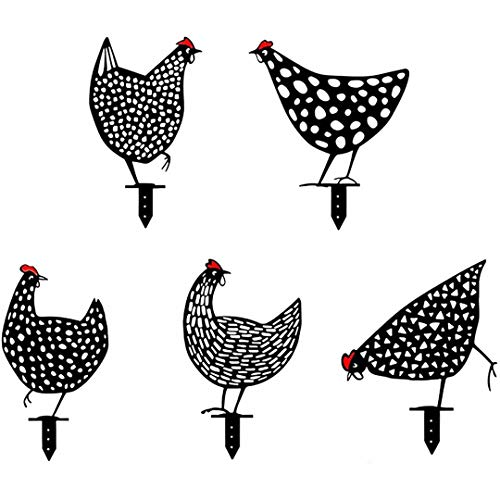 Estaca de silueta de animal de metal de gallo para yardas, arte de patio de silueta de pollo, silueta de gallina realista con estacas, adornos de decoración de jardín al aire libre, letrero de patio
