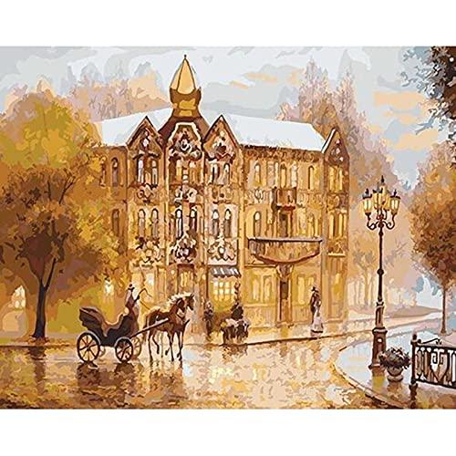 Pintura para adultos por números Todo incluido Un paisaje amarillo Flores Lienzo para el hogar Pintura Girasoles para colorear por números A6 45x60cm