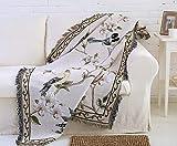 Wohndecke Baumwolle mit Fransen Beige Tagesdecke Schlafzimmer Sofaüberwurf Modern Natürlich Tiere Muster Sofa überwurf 90x210 cm