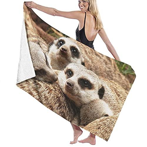Meerkats_Family_Fur_ Toalla de playa de microfibra, para hombres y mujeres, de secado rápido, de gran tamaño, para piscina, baño, viajes, deportes, hotel (52 x 32 pulgadas)