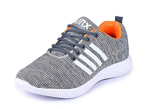 TRASE Relax Grey-Orange Sports Shoes for Men - 8 UK