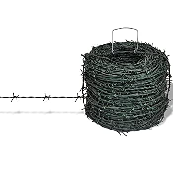 Daonanba Barbed Wire Yard Protector Entanglement Wire Green Practical Wire Roll 328 ft