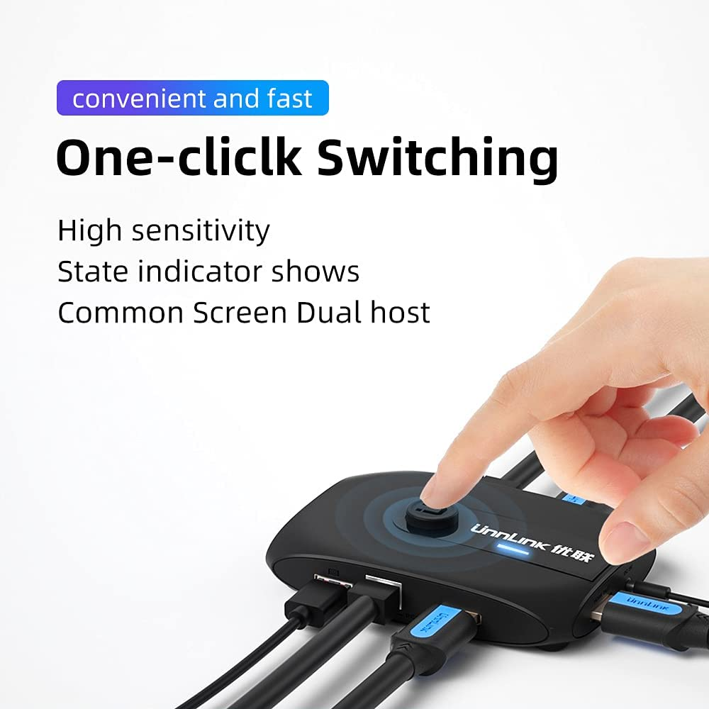 Unnlink HDMI KVM Switch 1080P 60Hz USB 2.0 Switcher Sharing 4 USB Ports for 2 Computer Share Mouse Keyboard Monitor Printer