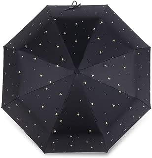 AUWANGAOFEI Bronzing Clover Umbrella Small Fresh Sunscreen UV Sun Umbrella Rain Or Shine (Color : Black)