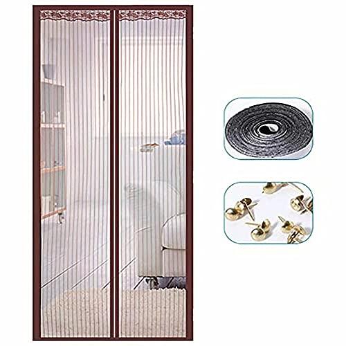 MAODOU Mosquitera magnética para puerta, 70 x 180 cm, protección contra insectos, puerta de balcón, mosquitera para puerta, montaje sencillo adhesivo, para puertas de balcón y terraza, color m