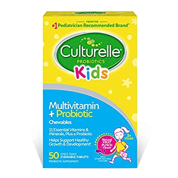 Culturelle Kids Complete Multivitamin + Probiotic Chewable - Digestive & Immune Support for Kids - With Vitamin C D3 and Zinc - 50 Count Multi Fruit