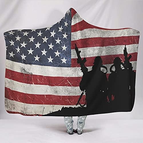 Hothotvery Manta con capucha vintage americana, diseño de bandera americana, unisex, de felpa mullida, para sofá, color blanco, 150 x 200 cm