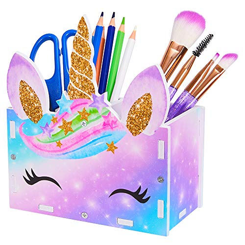 Beinou Kids Make-up Pinselhalter Make-up Pinsel Organizer Kosmetik Lagerung Einhorn Bleistifthalter Desktop von 2 Slots