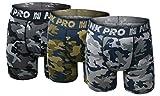 NK Pro Men's Performance Boxer Briefs Sports Underwear 3 Pack (Large, Camouflage Grey/Navy/Green/)