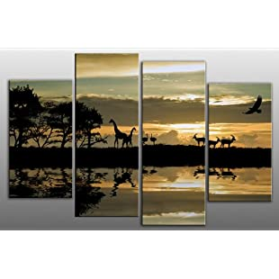 """Customer reviews Large African Sunset Canvas artwork 4 pieces multi panel split canvas completely ready to hang hanging cord pre attached, hanging template included for very easy hanging, hand made printed to order UK company 40"""" width 28"""" height (101 x 71 cm):Donald-trump"""