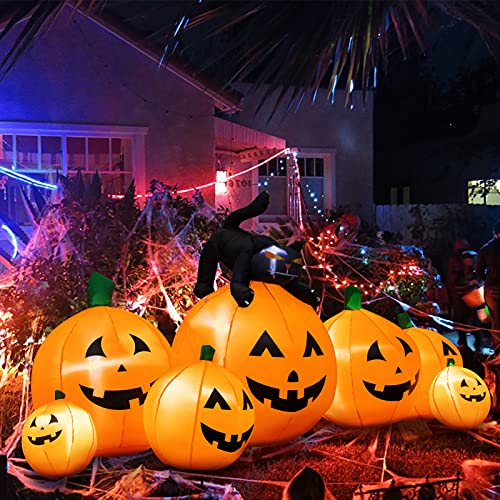 Halloween Inflatable Decoration 8 FT Long Inflatable 7 Pumpkins Patch Lanterns with Black Cat with...