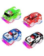 4 piezas Track Race Car (2 * coche de policía, 1 * coche de carreras, 1 * coche de camión de bomberos), Circuito Coches Juguete Niño, Coches Led Accesorios de Pista para Niños 3 4 5 6 Años (4 piezas)