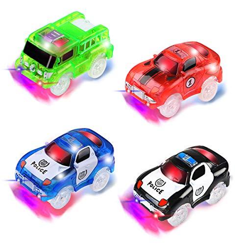 4 Pezzi Track Cars (2 * auto della polizia, 1 * auto da corsa, 1 * autopompa antincendio), Auto Giocattolo per Bambini Pista Macchinine Auto Elettriche Bagliore nel Buio Traccia per Ragazzo Ragazza