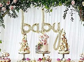 """Baby Balloon White Gold Script - Jumbo 34"""" Banner Foil Balloon - Perfect for Boy & Girl Baby Showers & Sprinkle Parties, Hospital Gifts, Baby Welcoming – Premium Quality, Air-Filled Only"""