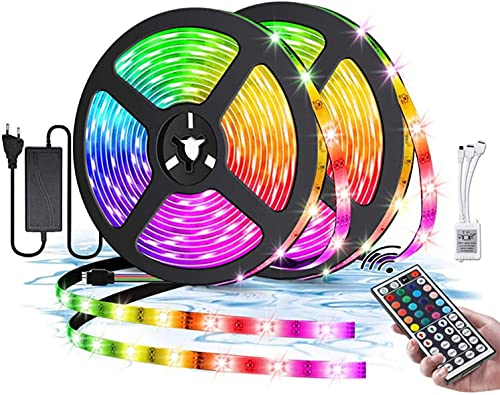 DUOLZ LED Strip Lights, with 44-Keys Remote Control, RGB 5050 Multicolour Strip Lights, IP65 Waterproof, 16 Color Changing and 4 Modes, Suitable for Home Party and Festival Decoration,10M 300 Lights