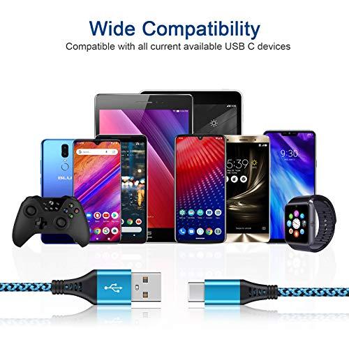 USB C Kabel, AILKIN [3 Pack 1.8M] Typ C Ladekabel Datenkabel Nylon USB C Schnellladekabel für Samsung Galaxy S20 S10 S9 S8 Plus Note 20, MacBook, iPad Pro 2020, Google Pixel, LG