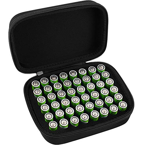 COMECASE Hard Battery Organizer Storage Box Carrying Case Bag - Holds 48 Batteries AA [ Not Include Tester and Accessories ]