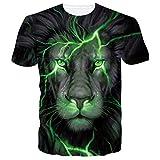 Camiseta Unisex de Animales de Manga Corta con Estampado de león en 3D para Hombre, Camisetas con gráficos Informales para la Playa de Verano S