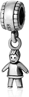 Little Baby Boy Charms Original 925 Sterling Silver Happy Child Dangle Bead Birthday Charms for Bracelet Pandora Charms (Boy Charms)