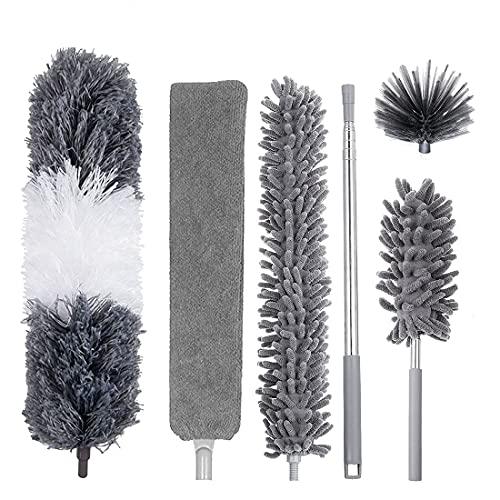 YOKOKO Kit de Limpieza de Plumero de 6 Piezas, Plumero de Microfibra Extensible para Limpiar el Polvo, TelaraaA, Ventiladores de Techo, Luces, Persianas, Coches