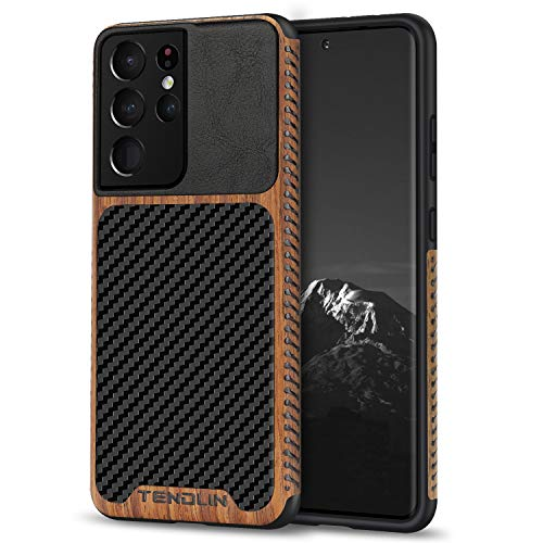 TENDLIN Compatible with Samsung Galaxy S21 Ultra Case Wood Grain with Carbon Fiber Texture Design Leather Hybrid Case (Black)