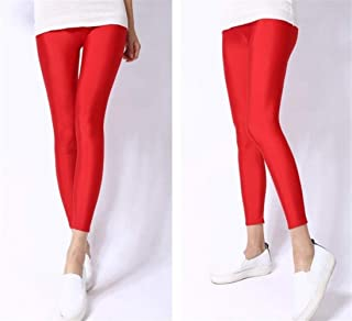 2019 New Spring Solid Candy Neon Leggings for Women High Stretched Female Legging Pants Girl Clothing Leggins Plug Size (Color : Red, Size : XL)