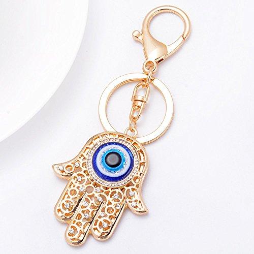 Llavero con amuleto de mano de Hamsa, dorado, ojo de Fátima, bonito s