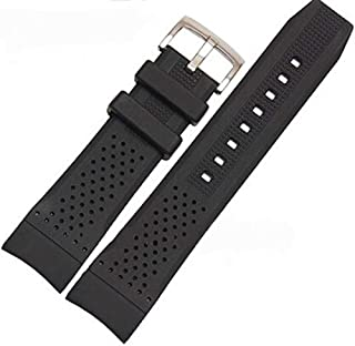 22mm Black Silicone Rubber Curved End Dive Watch Band Strap for CASIO Edifice EF550