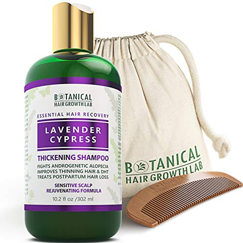 BOTANICAL HAIR GROWTH LAB - Hair Thickening Shampoo - Lavender Cypress - Essential Hair Recovery - Sensitive Scalp/Rejuvenating - For Hair Loss Prevention Alopecia Postpartum DHT Blocker - 10.2 Oz