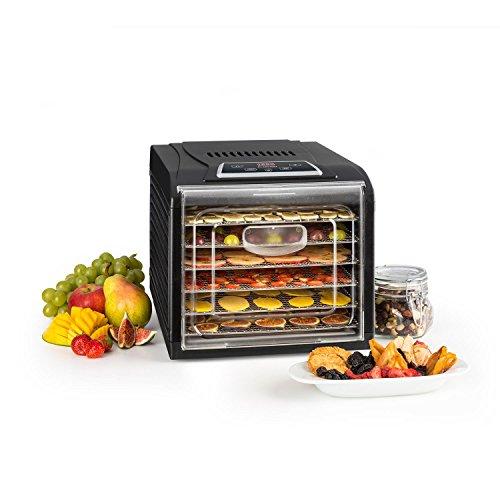 Klarstein Fruit Jerky Plus 6 - Dörrautomat, Dörrgerät, Obst-, Fleisch- und Früchte-Trockner, Antihaftbeschichtung, einstellbare Temperatur, programmierbarer Timer, einfache Reinigung, schwarz