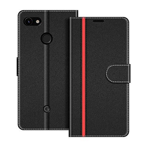 COODIO Handyhülle für Google Pixel 3A Handy Hülle, Google Pixel 3A Hülle Leder Handytasche für Google Pixel 3A Klapphülle Tasche, Schwarz/Rot
