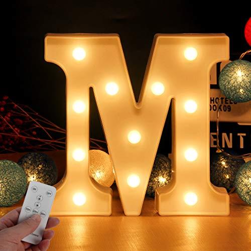 LED Buchstabe Lichter Alphabet Zeichen mit drahtloser Timer Fernbedienung Dimmable Led dekoration für Geburtstag Party Hochzeit & Urlaub Haus Bar (Buchstabe M)