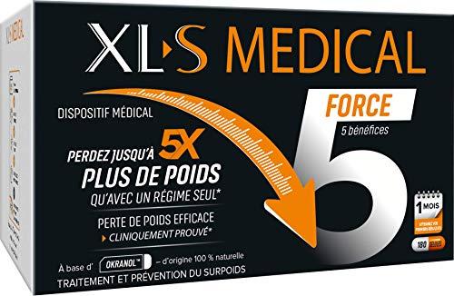 XL-S MEDICAL Force 5 – Une aide à la perte de poids efficace1 - Aide à Perdre jusqu'à 5 x plus de Poids qu'avec un Régime Seul* – 1 mois - Boîte de 180 Gélules