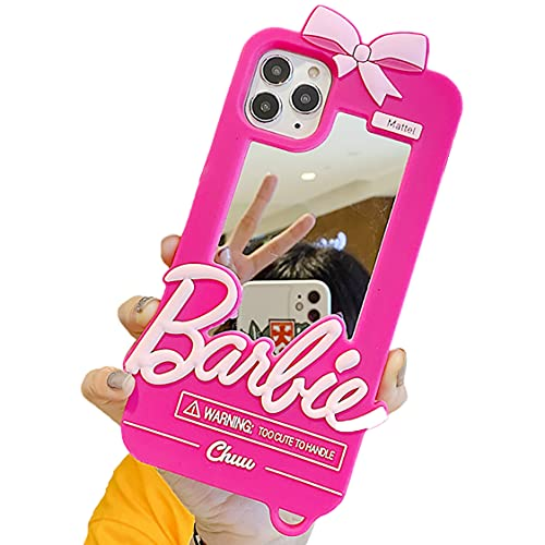 Kawaii Cute Pink 3D Retro Case Compatible for iPhone 12 Pro Max - Silicone Rubber Protective Gel Back Cover with Make up Mirror for Girls