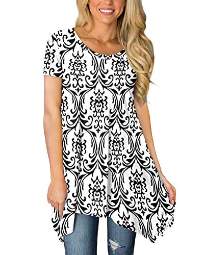 POPYOUNG Womens Summer Short Sleeve Tunic Tops Casual Swing Blouse Shirt XL, Floral Black White