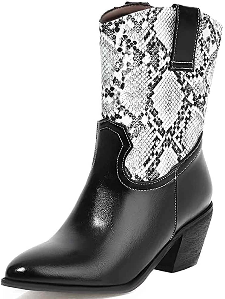 Womens Mid Calf Boots Chunky Heel Pointed Toe Pull on Western Cowgirl Cowboy Ankle Boots