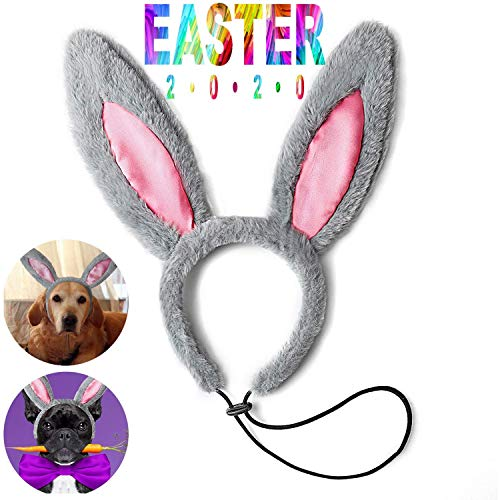 Toozey Easter Bunny Ears for Dogs, Dog Bunny Costume Elastic Adjustable Easter Rabbit Ears Headband for Medium and Large Dogs