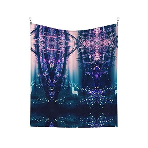 Tapiz para colgar en la pared, colorido bosque de ciervos impreso manta de pared para sala de estar, dormitorio, decoración del hogar, 152 x 130 cm