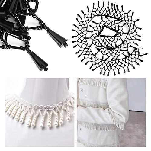SHYEKYO Cinta de Borla de Perlas Resistente a Las Arrugas para decoración de Bodas para Cualquier ocasión(6.5cm Wide)