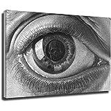 Escher - Póster de calavera con esqueleto de ojo clásico surrealista para pared, diseño de cuadros en blanco y negro y negro