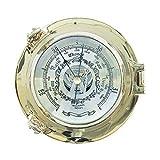 Schiffs- Barómetro en el Buey Latón Pulido, Dosenbarometer Ø 14CM