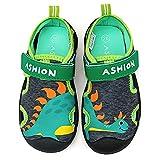 Escarpines Deportes acuáticos Zapatos de Agua Sandalias de Vestir Unisex-Niños(Verde Dinosaur,23.5 EU)