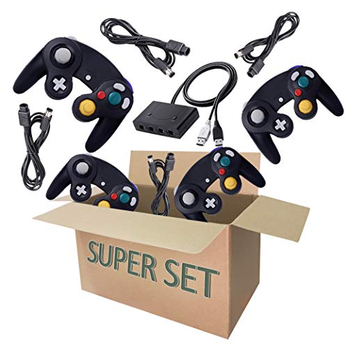 4 Controller for Gamecube, with 4 Extension Cords and a 4-Port Gamecube Adapter for Wii U/Switch/PC - Black