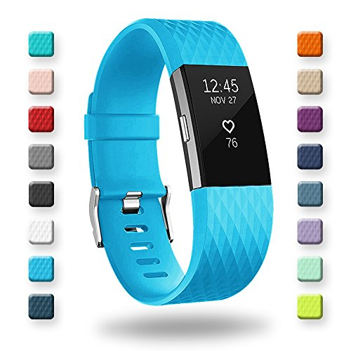 POY Replacement Bands Compatible for Fitbit Charge 2, Special Edition Adjustable Sport Wristbands, Large Cerulean