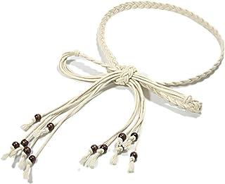Yinew - Cintura sottile con fiocco annodata in vita, con perline e cinturino in corda